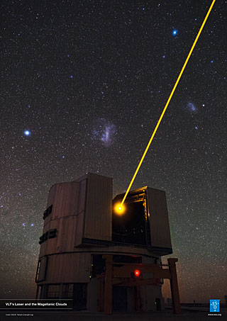 Poster: VLT's Laser and the Magellanic Clouds